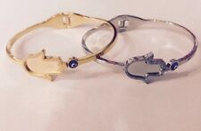 Stainless Steel Hamsa Bangle bracelet with Evil Eye Sparkling Women Style