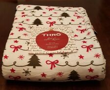 """New! 50"""" x 70"""" Christmas Holiday Throw with Trees, Bows and Ribbon. Soft Fleece"""