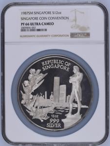 1987 SM Singapore Silver 12oz Singapore Coin Convention Medal NGC PF66UC #1