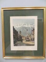 Vtg Innsbruck Austria Color Pencil Signed lithograph of St.Anne's Column Framed