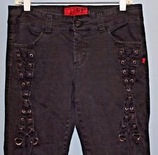 TRIPP NYC Women's Black Lace-Up Goth Punk Rave Stretch Jeans (size 11; W32/L30)