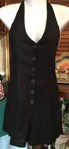 Black Halter Neck Linen Cotton Hot Pants Jumpsuit Shortalls 6