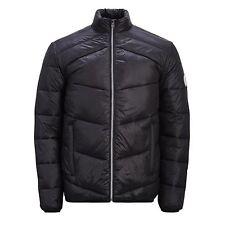 Mens Puffer Jacket Jack & Jones Zoom Lightly Padded Funnel Neck Zip up Coat Black X Large