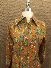 NOS NWT Vtg Colorful Bold FALL SEASON FLORAL CASUAL SHIRT S/M Button Down LS New