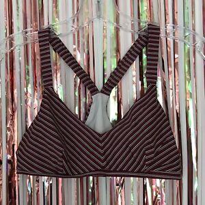 The Upside Women's maroon, Navy, + white striped yoga sports bra athletic - 6