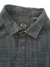 Armani Exchange Button Up Dress Shirt Fitted Casual Navy Blue Size XL