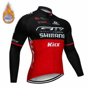 Men's Winter Thermal Fleece Cycling Jersey Long Sleeve Road Bike Clothing Set
