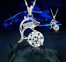 061 NEU Damen Halskette mit Anhänger Delfin 925  Silber Pl Zirkon Kristall