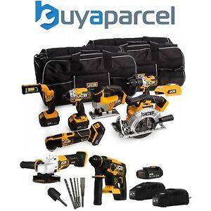 "JCB 189PK 18V Cordless 9 Piece Tool Kit SDS - 4x Batteries Charger + 2 26"" Bags"