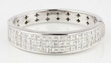 21.30 carat Diamond Invisibly Set Bangle 18k White Gold Bracelet 7.25 inches