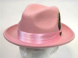 Men's Fedora Dress Hat Light Pink UN-126 Size S, M, L, XL 100% Australian Wool
