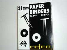 Celco Paper Binders No.645 31mm box200pcs silver metal for document file binding