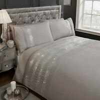 "Rapport ""Carly"" Embellished Diamante Bands Detail Duvet Cover Bedding Set Grey"