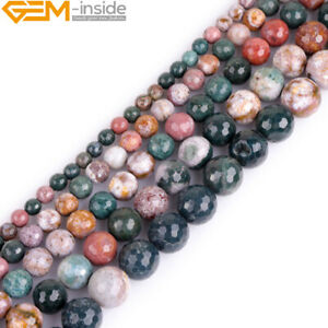 Faceted Multicolor Ocean Jasper Natural Stone Round Loose Jewelry Making Beads