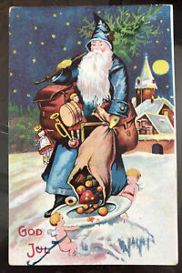 True Vintage Old World Xmas Postcard Santa Blue Coat Lil Cherubs Angels