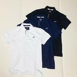 3PK New Hollister Men's Stretch Polo Shirts (Black/Navy/White) M,L,XL,2XL