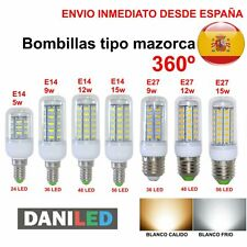 BOMBILLA LED MAZORCA  E14 E27 5W 9W 12W 15W LED 5730 SMD (ENVIO DESDE ESPAÑA)