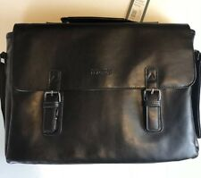 """Kenneth Cole Black Leather Oh Flap Fits Up to 15"""" Laptop Briefcase MSRP $200.00"""