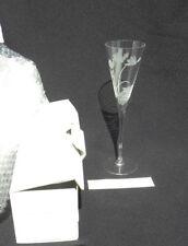 Vintage Franklin Mint Etched Crystal Cyclamen Champagne Flute, B11NH47 NIB
