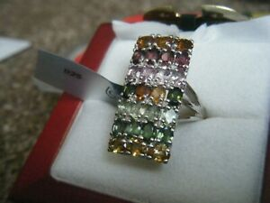 Rainbow Tourmaline Silver Ring by Gems TV/Gemporia/TGGC