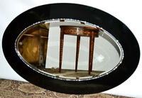 A Luxury Large Black Glass & Swarovski Oval Wall Mirror Bevelled Plate [P3386]