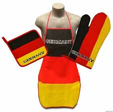 Germany Flag Kitchen & BBQ Set NEW w Apron Oven Mitt & Pot Holder German Schürze