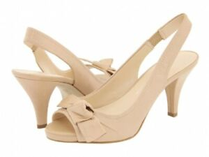Franco Sarto Astra Torrone Leather Slingback Shoes (color: nude, powder), size 7