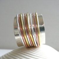 925 Sterling Silver Wide Band Meditation Ring Statement Ring Spinner Ring rr1273