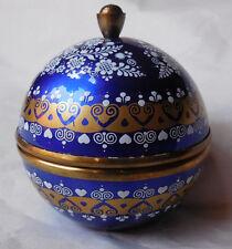 Vintage Steinbock Austria Enamel Egg Round Lidded Trinket Ring box
