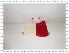♣ - Doudou Plat Rectangulaire Ours Panda Rouge Blanc Sucre d'Orge