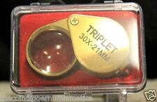 Jewelers Eye Loupe TRIPLET 30X 21mm Magnifier Coin Stamp Error Hand Lens + Case