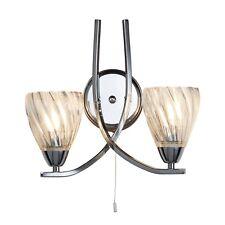 Searchlight Ascona II 2 Lights LED Chrome Clear Twisted Glass Wall Bracket Light
