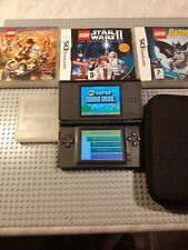 Nintendo Ds Lite Black R4 Card & 3 Lego Ds Games and Case and CHARGER