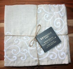 Envogue Home Table Throw Square Topper Gorgeous Embroidered 50 x 50 Linen Look