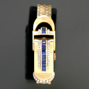 SCARCE WOMENS 18K GOLD DIAMOND AND SAPPHIRE ROLEX BRACELET WATCH | 17 JEWEL MANU