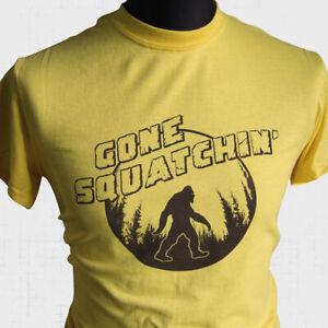Gone Squatchin T Shirt Sasquatch Bigfoot Yeti Hunter Mountain Fun Ape Man Yellow