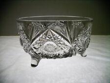 "American Brilliant Cut Glass Ferner Bowl Tri Footed 8"" Dia"