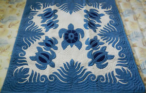 Hawaiian quilt 100% hand quilted/hand appliqued wall hanging 42x42