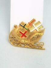 Christmas Sleigh Gold tone and Filled with present Wrapped with Enamel Bows Vint