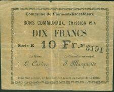 BILLET de NECESSITE 10 FRANCS COMMUNE de FLERS EN ESCREBIEUX ETAT: TTB Lot 110