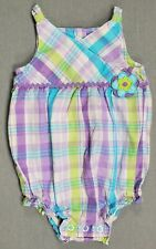 CARTER'S 6 MONTH BABY GIRL PURPLE PLAID ROMPER OUTFIT