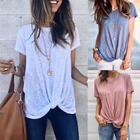 Women Spring Summer Casual Knot Short Sleeve O-Neck Tunic T-Shirt Tops Blouse