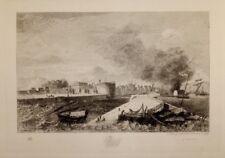 """Eau-forte de H.MANESSE, """"Le Port du Havre en 1784"""" d'après BELANGER"""