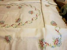 Vintage lg. linen, embroidered tablecloth