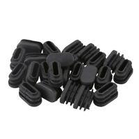 15mm x 30mm Plastic Oval Shaped End Cap Tube Insert Black 24 Pcs F6Y1 G3F6