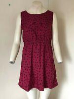 GORGEOUS!! Wine Red Swift/Bird Patterned Dress - By Mela Loves London - Size 12