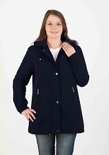 Ladies Size 10 to 28 Black Blue Long Jacket Hood Coat Soft Warm *LICK*