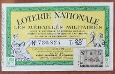 Billet de loterie nationale 1941 26e tranche - LES MÉDAILLÉS MILITAIRES - 1/10