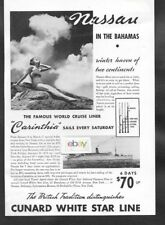 Cunard White Star Line Nassau In The Bahamas By Famous Line Carinthia 6 Days Ad