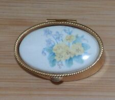 Lovely vintage gold tone floral design oval pill box